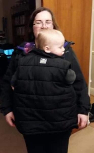 Babywearing coat extender gilet hack
