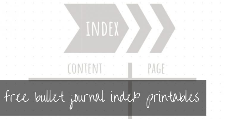 Bullet journal index | free printables