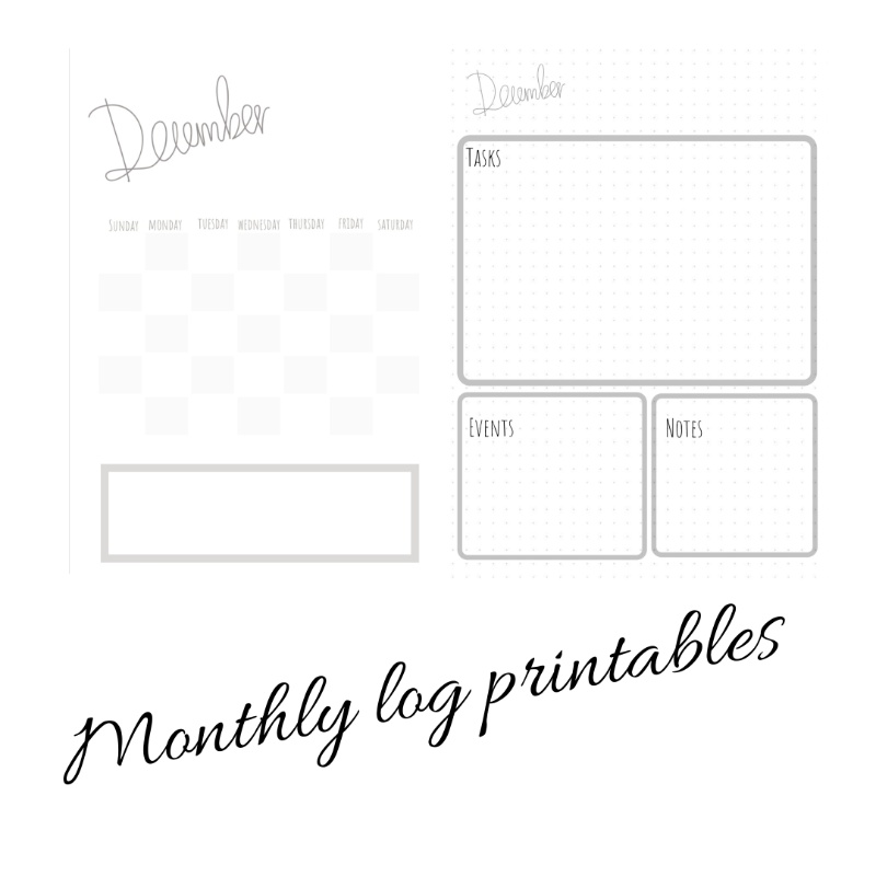 Bujo monthly log printables