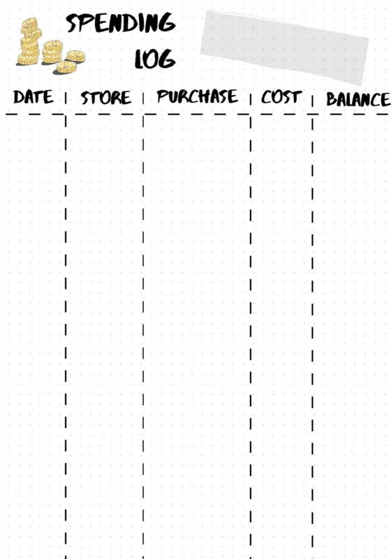 Bullet journal spending log