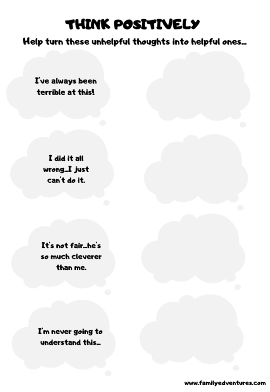 free printable growth mindset activities for kids think positively