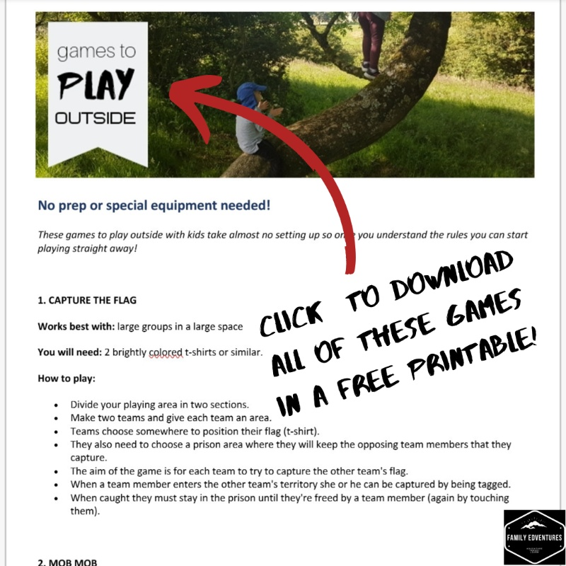 Games to play outside with kids printable
