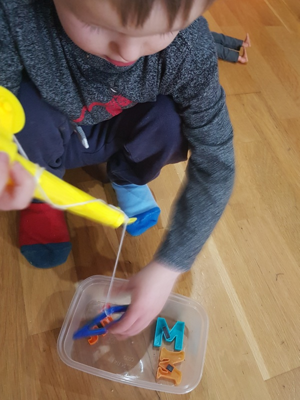 Magnetic letters toddler activity
