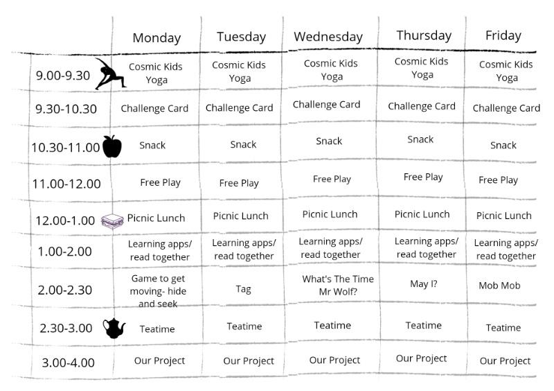 homeschool schedule for preschoolers