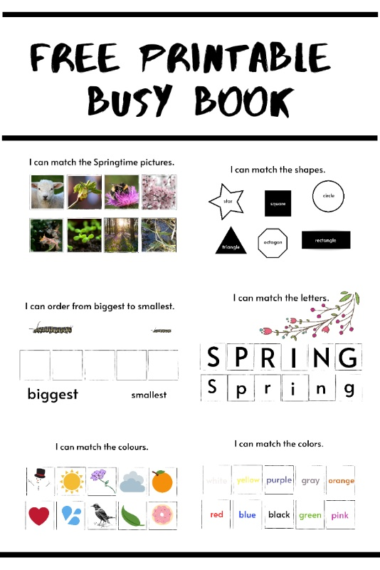Free printable Busy Book