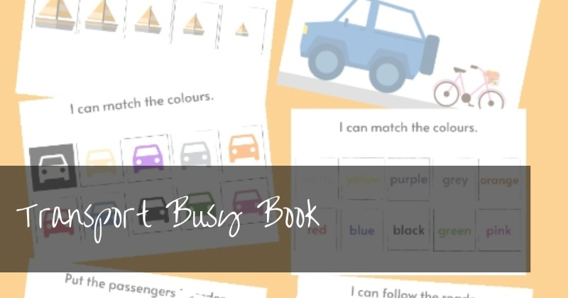 Transport Busy Book | free printable preschool vehicle busy book